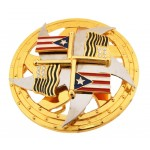 """Пряжка на ремень с вращающимся диском """"Флаг Пуэрто-Рико"""""""
