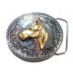 Пряжка на ремень с узором и головой лошади